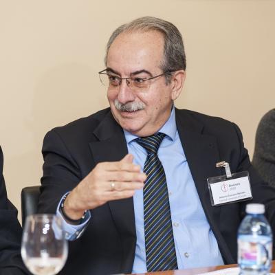 El representante de la Cámara de Comercio de Coruña, durante el debate